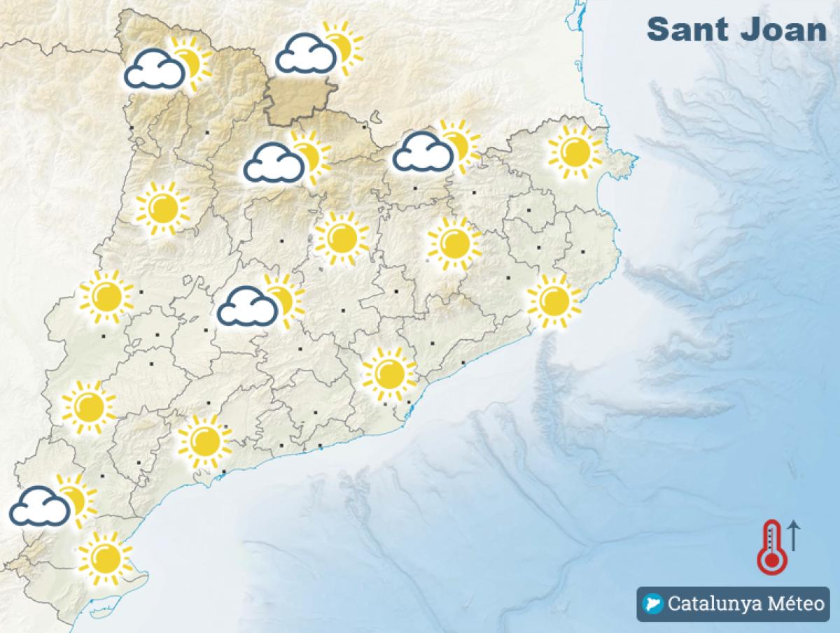 Mapa de previsió pel dilluns, dia de Sant Joan