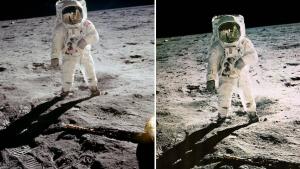 A la izquierda, la imagen original de Buzz Aldrin. A la derecha, la foto retocada