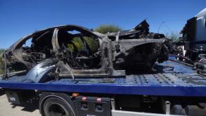 Imatge del vehicle en què circulava Reyes, després de l'accident