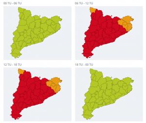 Mapa d'alerta per calor extrema a Catalunya aquest dissabte