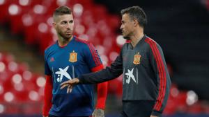 Sergio Ramos i Luis Enrique en un entrenament