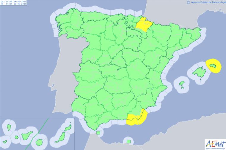 Mapa d'avisos per aquest divendres que contempla el risc de 'rissagues' a Menorca