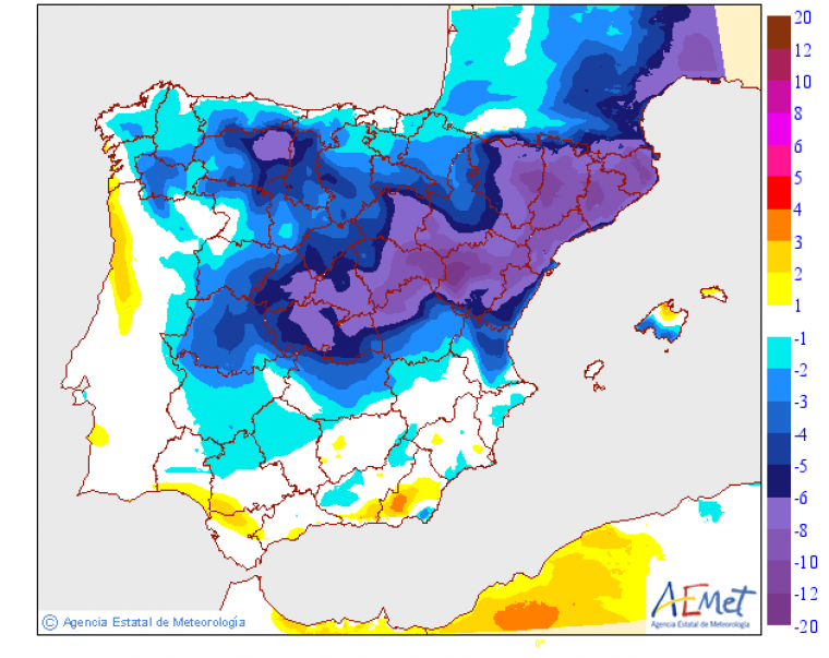 Mapa de la brusca baixada de les temperatures respecte a les màximes de dilluns