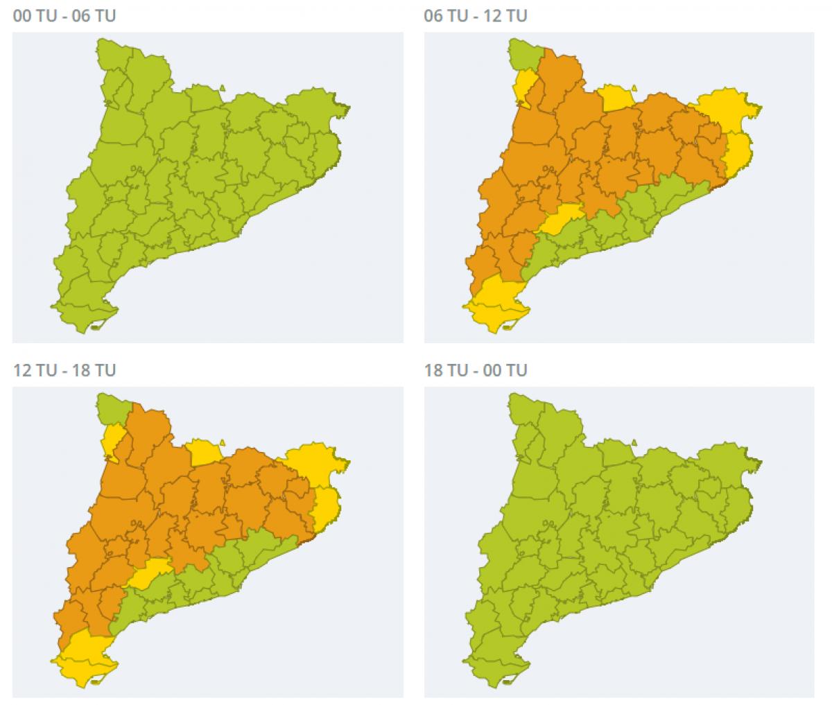 Mapa d'alertes per calor aquest dissabte