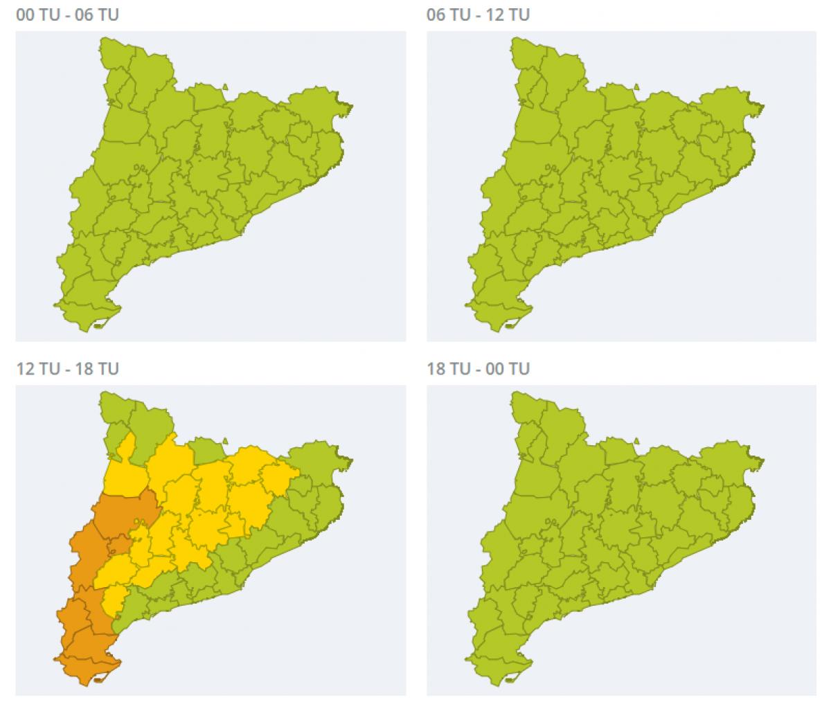 Mapa d'alertes per calor extrema aquest diumenge