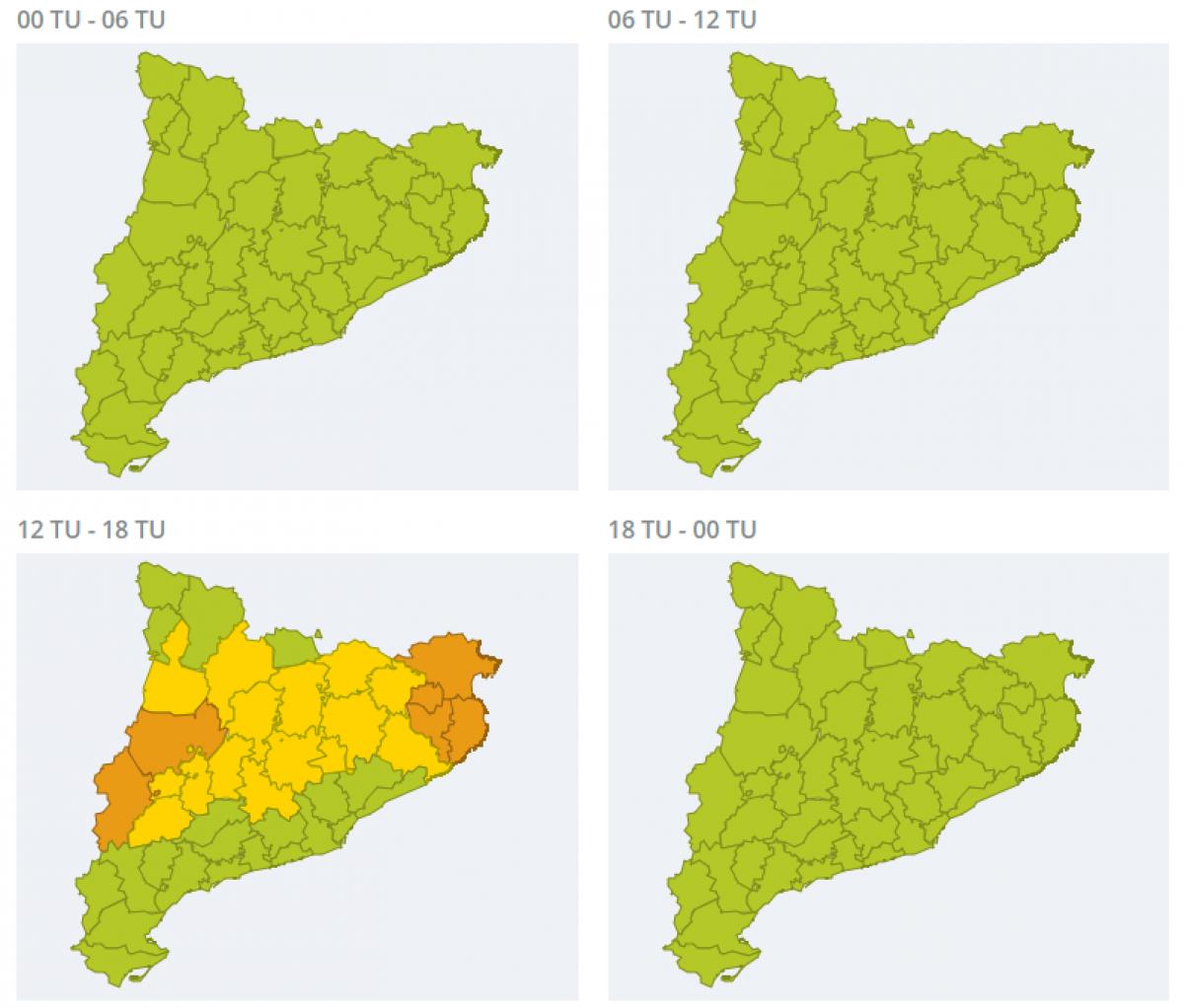 Mapa d'alertes per calor extrema aquest divendres