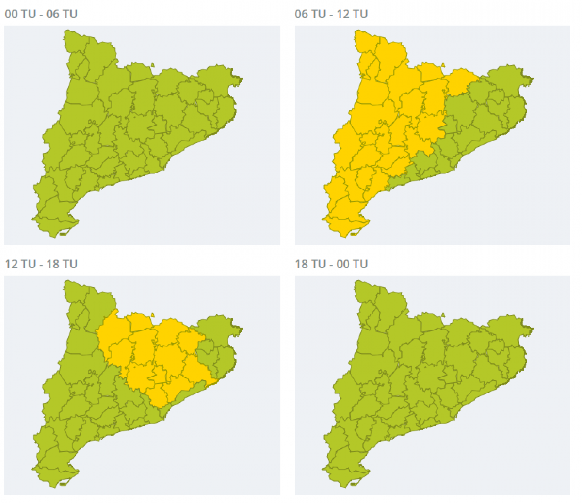 Mapa d'alertes per fortes pluges aquest diumenge