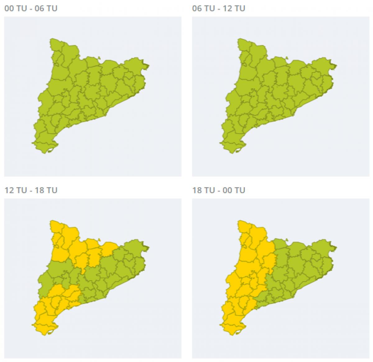 Mapa d'alertes per fortes tempestes aquest dilluns