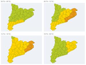 Mapa d'alertes per forts aiguats dissabte