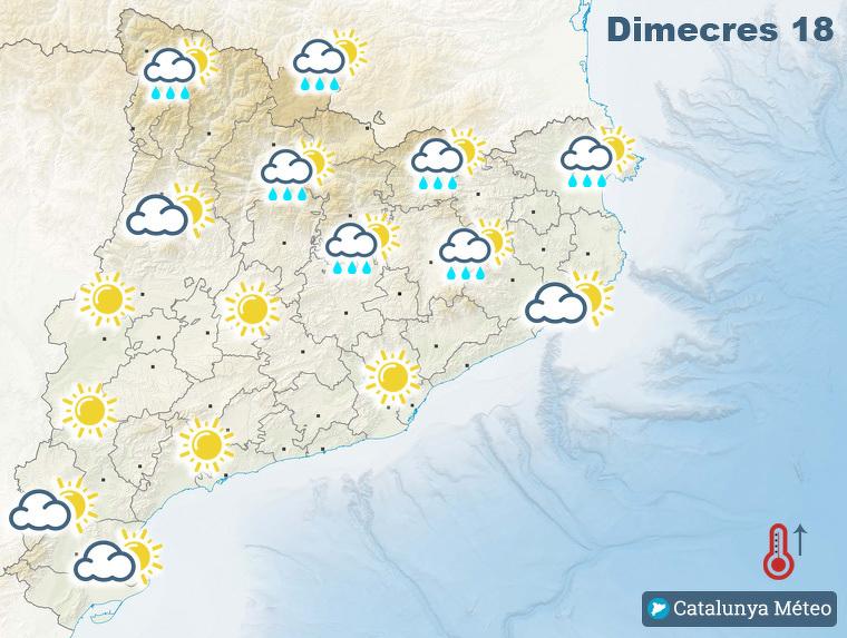 Mapa de previsió per aquest dimecres tarda