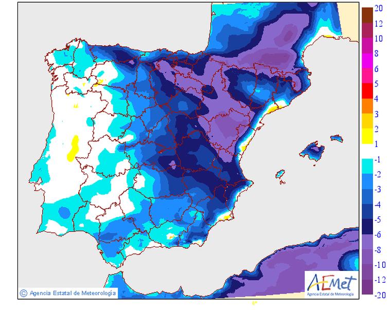 Mapa del descens de TºC previst per dimecres a Catalunya