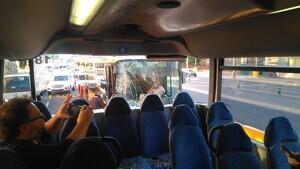 Accident entre dos autobusos interurbans a Barcelona