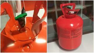 Imatge de la bombona de gas manipulada trobada pels Mossos d'Esquadra
