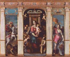 Retaule de la capella del Palau de la Generalitat amb el símbol dels tres estaments del Regne de València