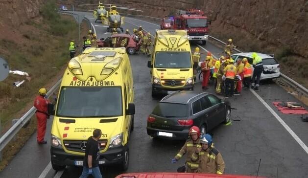 Dos morts en un accident amb 4 cotxes implicats a Bassella, l'Alt Urgell