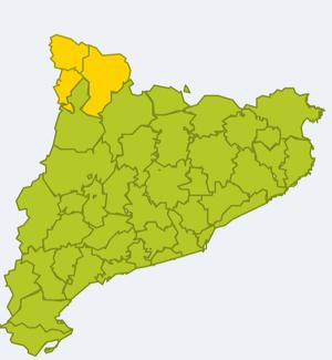 Mapa d'alertes per neu abundant divendres i diumenge