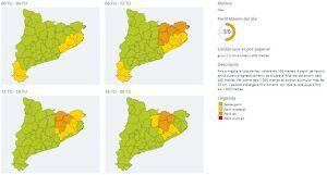 Mapes d'avisos del Servei Meteorològic de Catalunya