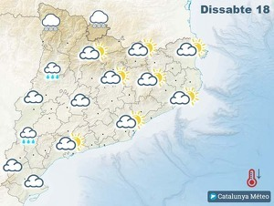 Mapa de previsió a Catalunya el dissabte 18 de gener del 2020