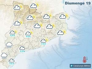 Mapa de previsió a Catalunya el diumenge 19 de gener del 2020