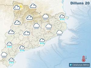 Mapa de previsió a Catalunya el dilluns 20 de gener del 2020