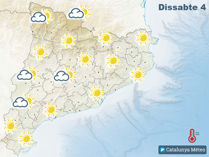 Mapa de previsió del temps a Catalunya el dissabte 4 de gener del 2020