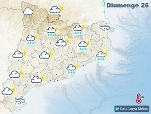 Mapa de previsió a Catalunya el 26 de gener del 2020