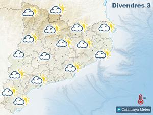 Mapa de previsió del temps a Catalunya el divendres 3 de gener del 2020