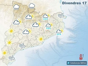 Mapa de previsió a Catalunya el divendres 17 de gener del 2020