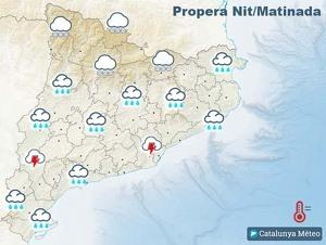 Mapa de previsió de la nit i matinada del 22 al 23 de gener del 2020