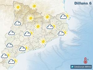 Mapa del temps previst a Catalunya