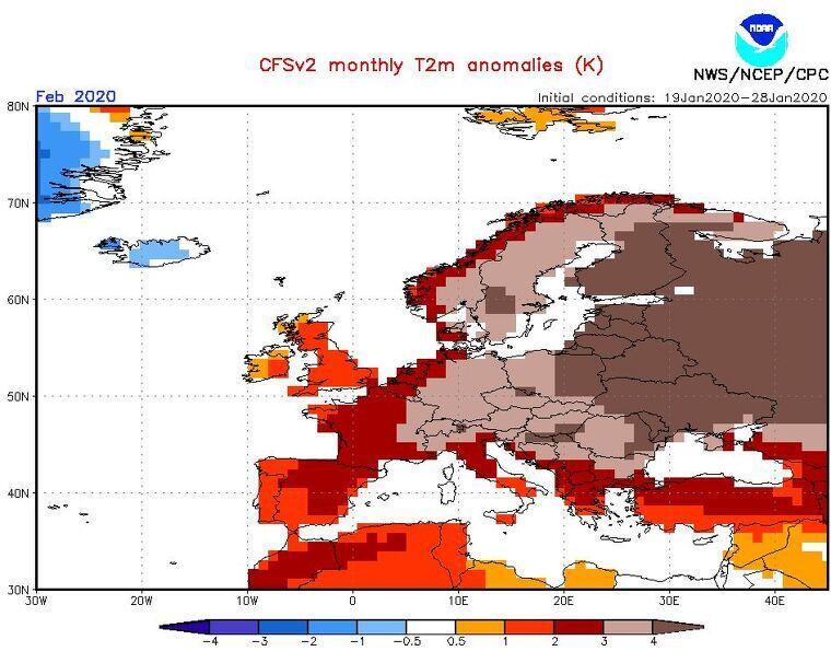 Mapa estacional d'anomalia de temperatures