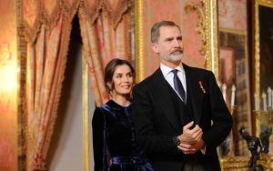 Felip i Letícia en una recepció diplomàtica el 5 de febrer de 2020