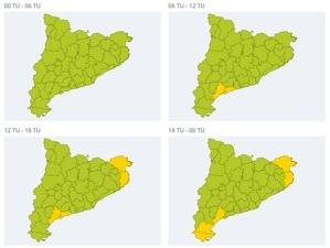 Mapa d'alertes per vent a Catalunya el 4 de febrer del 2020