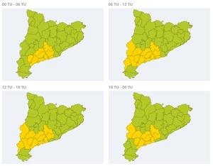 Mapa d'alertes per vent a Catalunya el 26 de febrer del 2020