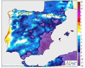Mapa de la diferència de temperatures prevista el dia 18 de febrer del 2020 a la península