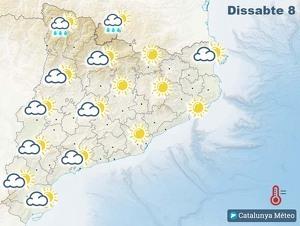 Mapa de previsió a Catalunya el 8 de febrer del 2020