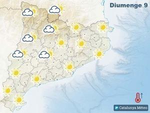 Mapa de previsió a Catalunya el 9 de febrer del 2020