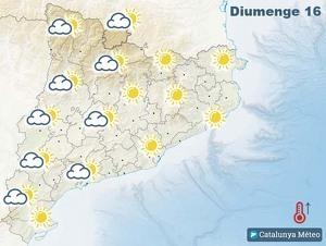 Mapa de previsió a Catalunya el 16 de febrer del 2020