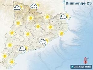 Mapa de previsió a Catalunya el 23 de febrer del 2020