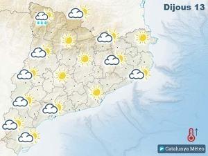 Mapa de previsió a Catalunya el 13 de febrer del 2020