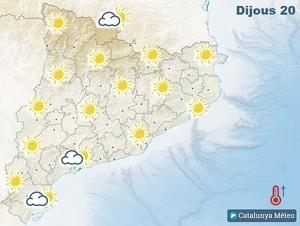 Mapa de previsió a Catalunya el 20 de febrer del 2020