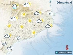 Mapa de previsió a Catalunya el 4 de febrer del 2020