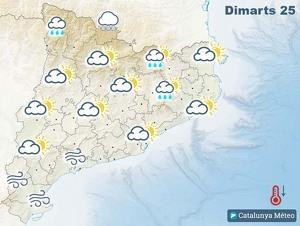 Mapa de previsió a Catalunya el 25 de febrer del 2020