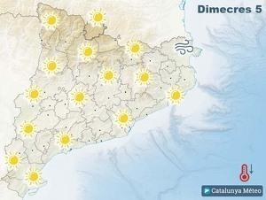 Mapa de previsió a Catalunya el 5 de febrer del 2020