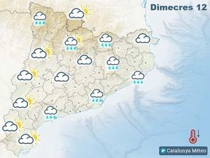 Mapa de previsió a Catalunya el 12 de febrer del 2020