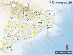 Mapa de previsió a Catalunya el 26 de febrer del 2020