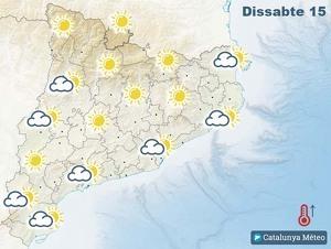 Mapa de previsió a Catalunya el 15 de febrer del 2020