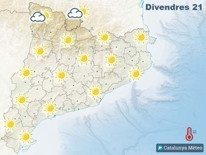 Mapa de previsió a Catalunya el 21 de febrer del 2020