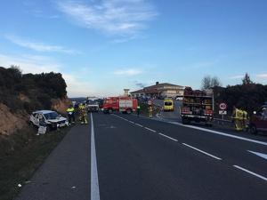 Imatge difosa pel Servei Català de Trànsit (SCT) d'un accident mortal a Vilanova de l'Aguda