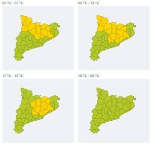 Mapa d'alertes per neu a Catalunya el 26 de març del 2020